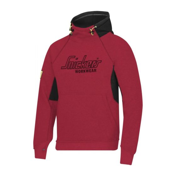 Snickers 2815 Logo Mens Workwear Hooded Hoodie Sweatshirt Chilli Red Size L