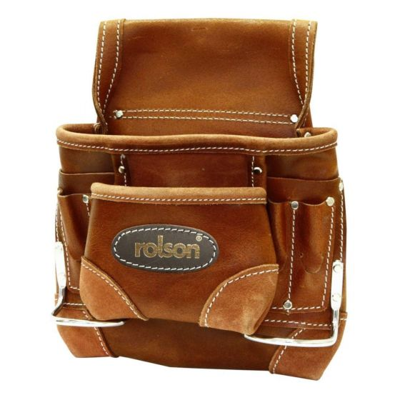 Rolson Heavy Duty 8 Pocket Tanned Leather Nail Pouch