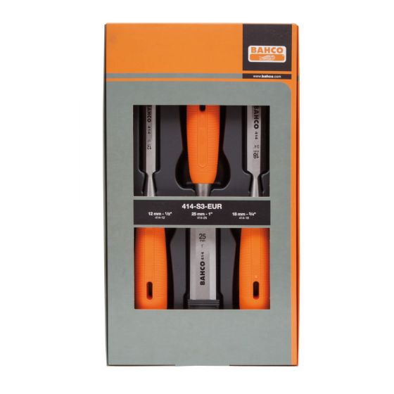 Bahco 3pc Precision Ground Max Sharp Long Lasting Chisel Set with Holsters