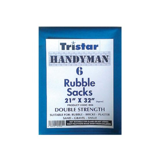 6pc Large Heavy Duty Blue Strong Rubble Sacks Garden Builders Rubbish Waste Bags