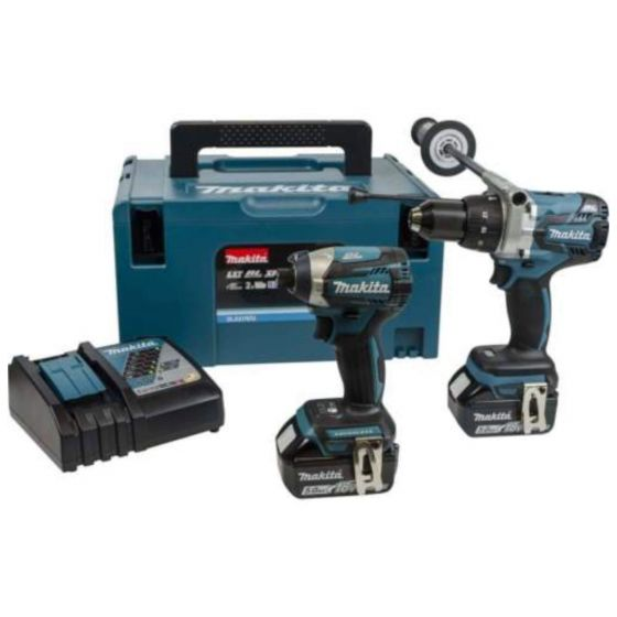 Makita 18V BRUSHLESS Combi Drill & Driver Twinpack 2x 5.0Ah Batteries plus MAKPAC Case