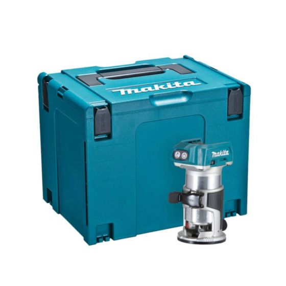 Makita 18V LXT BRUSHLESS Router Trimmer with Trimmer Base, Straight Guide & MAKPAC Case - Body Only
