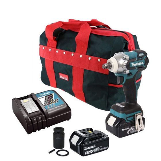 Makita DTW285TX2 18V LXT BRUSHLESS Impact Wrench with 2x 5.0Ah Battery Batteries and Scaffold Socket Kit