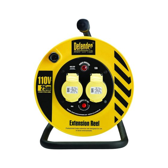 Defender 2-Gang 25m Cable Reel - 110V