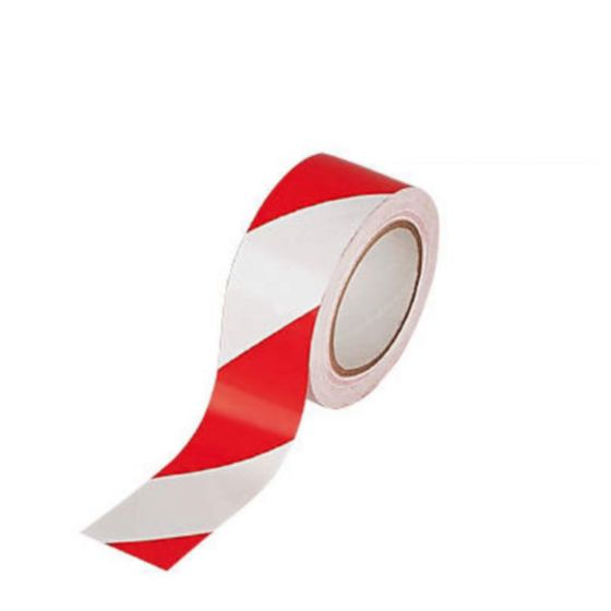 1x Hazard Warning Barrier Tape Roll Sticky Adhesive Red and White 50mm x 33m