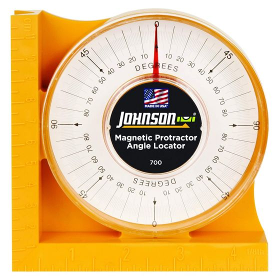 Johnson Magnetic Protractor & Angle Locator Level 0-90 Degrees V Groove JL700