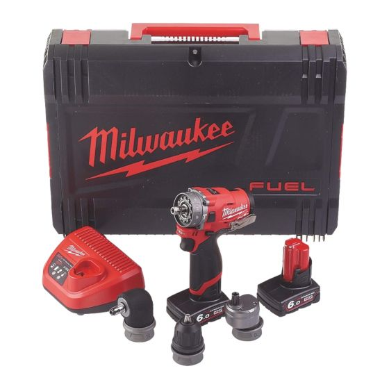 Milwaukee M12 FUEL Combi Drill with Detachable Heads 6 in 1 with 2x 6Ah Batteries